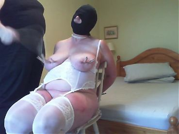 Tits clamped and whipped