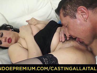 CASTING ALLA ITALIANA - Breasty MILF fucked in bushy cunt