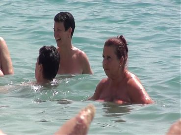 Beach mature mega breasts