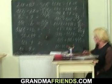 Lucky studs have fun with old mature blonde teacher