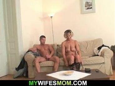 He fucks sexy mother-in-law from behind