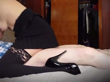 Samantha high heels and stockings slow ride sexy tight body