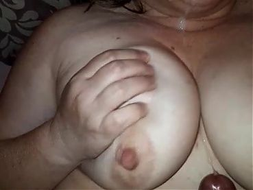 Stranger cums on my wife's tits