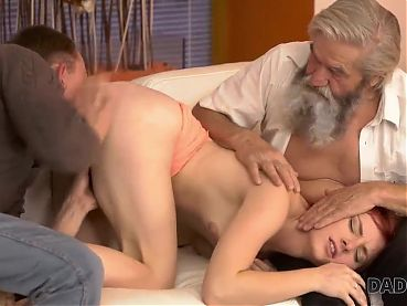 DADDY4K. Son joins dirty sex actof his girlfriend and lustfu