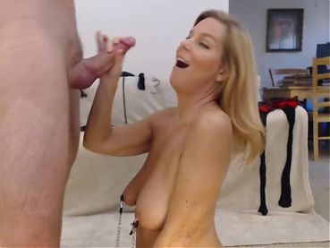 MILF nipple clamps sucking big hard cock