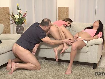DADDY4K. Amazing sex action of older stepdad and two young..