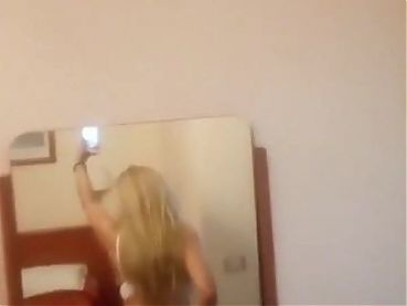 Blonde Aunt showing Ass in Mirror